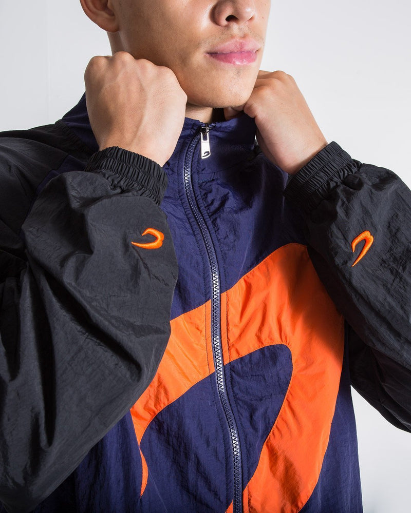 Walker Track Jacket - Black/Navy/Orange - BOXRAW