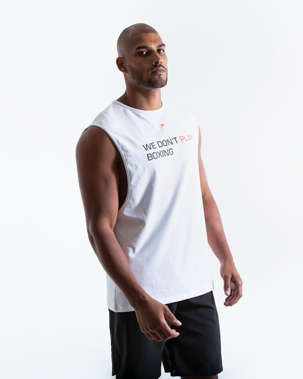 We Don't Play Boxing Muscle Tank - White