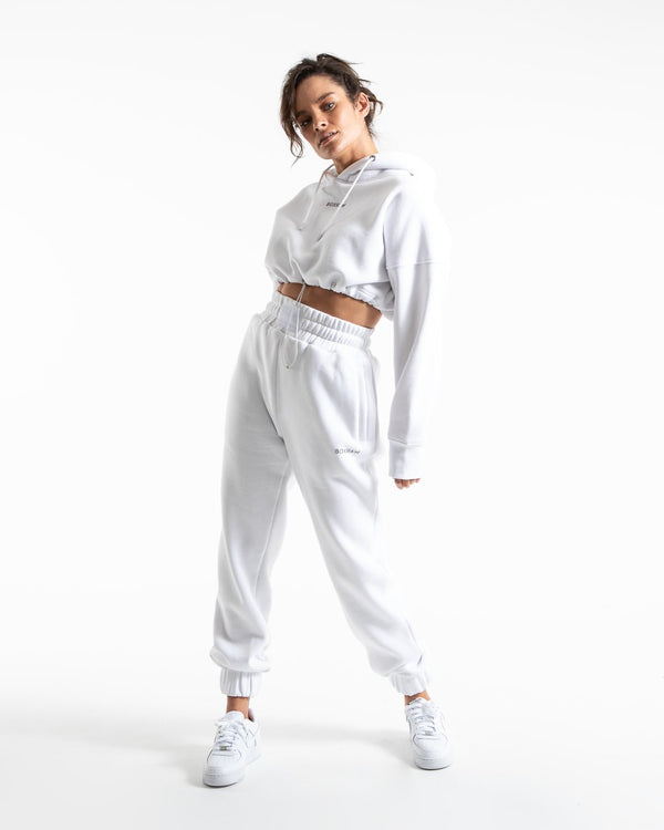 Johnson Cropped Hoodie - White
