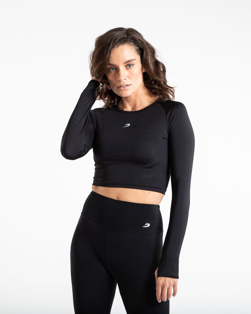 Crop Top Long Sleeve - Black