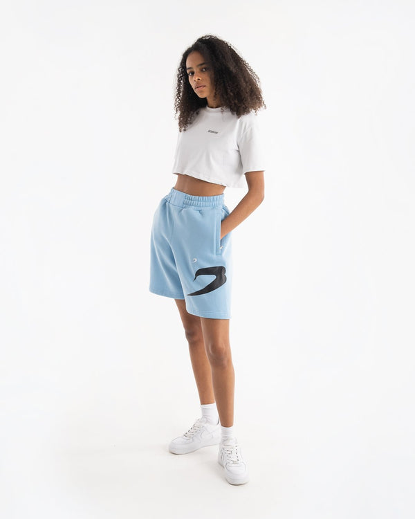 Women's Boyfriend Shorts - Baby Blue - BOXRAW