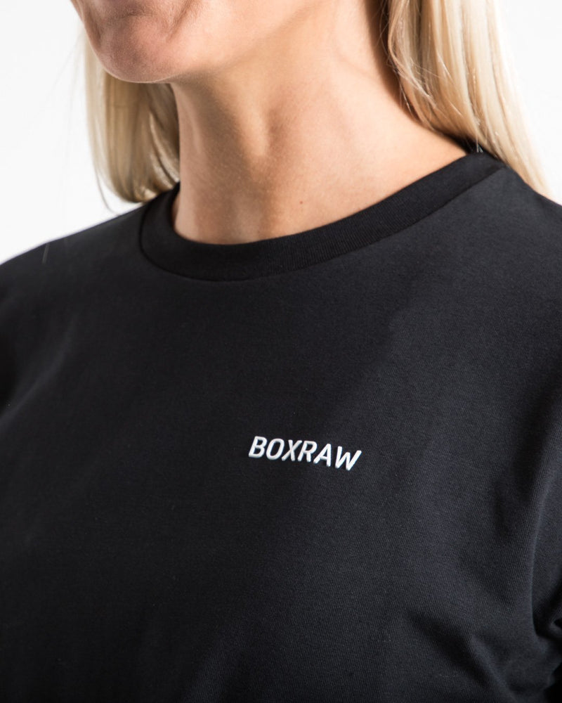Cropped BOXRAW Logo T-Shirt - Black