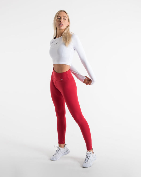 Women's High Waist Leggings - Red - BOXRAW