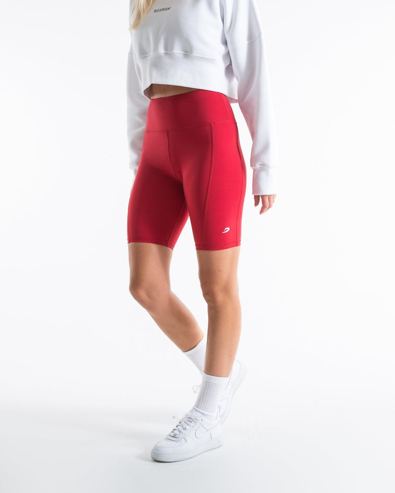 Women's Cycling Shorts With Pockets - Red - BOXRAW