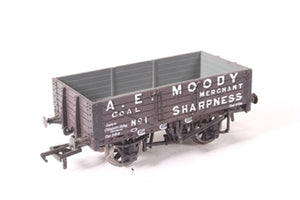 "37-056A BACHMANN 5-plank wagon with wooden floor ""A.E Moody"" - Pre-owned - Like new"