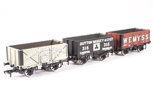 37-075K7 BACHMANN Set of 3 Wagons - 7 Plank Fixed End Wagon - 'Dutton Masset & Co - Liverpool', 7 Plank Fixed End Wagon - 'Wemyss' and 7 Plank End Door Wagon - 'Cambrian Mercantile Collieries'