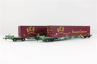 37-300 BACHMANN Intermodal FIA multifret twin with ECS 45' containers (Pack of 2) (NOS)