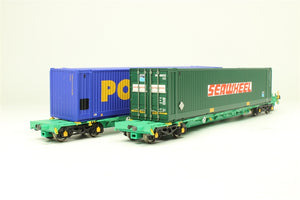 "37-301 BACHMANN Green Pair of Intermodal Bogie Flat Wagons 33 70 4938 713-3 in EWS Green Livery with Two 45ft. Containers: 1 in :Power Box"" livery and 1 in ""Seawheel"" livery, 2 pack, NOS"