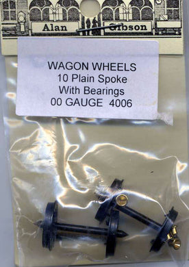 G4006 Gibson Wagon Wheels 10 plain spoke with bearings 1 pair (00 Gauge)