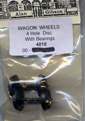 G4018 Gibson Wagon Wheels 4 hole disc with bearings 1 pair (00 Gauge)