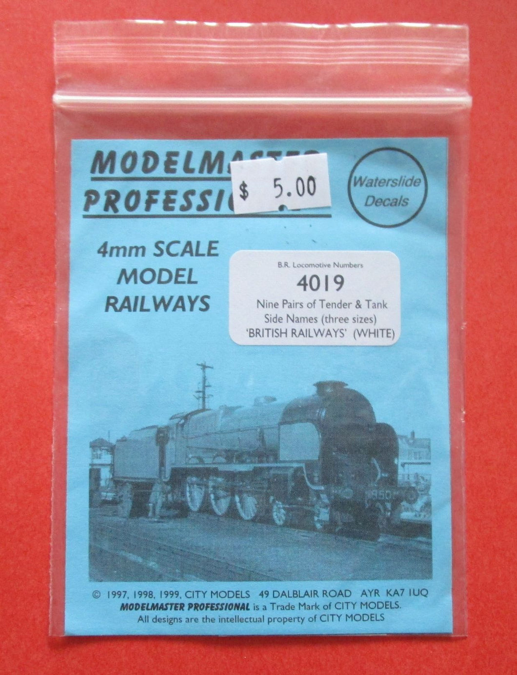 4019 Modelmaster 9 pairs of tender & tank side names (3 sizes)