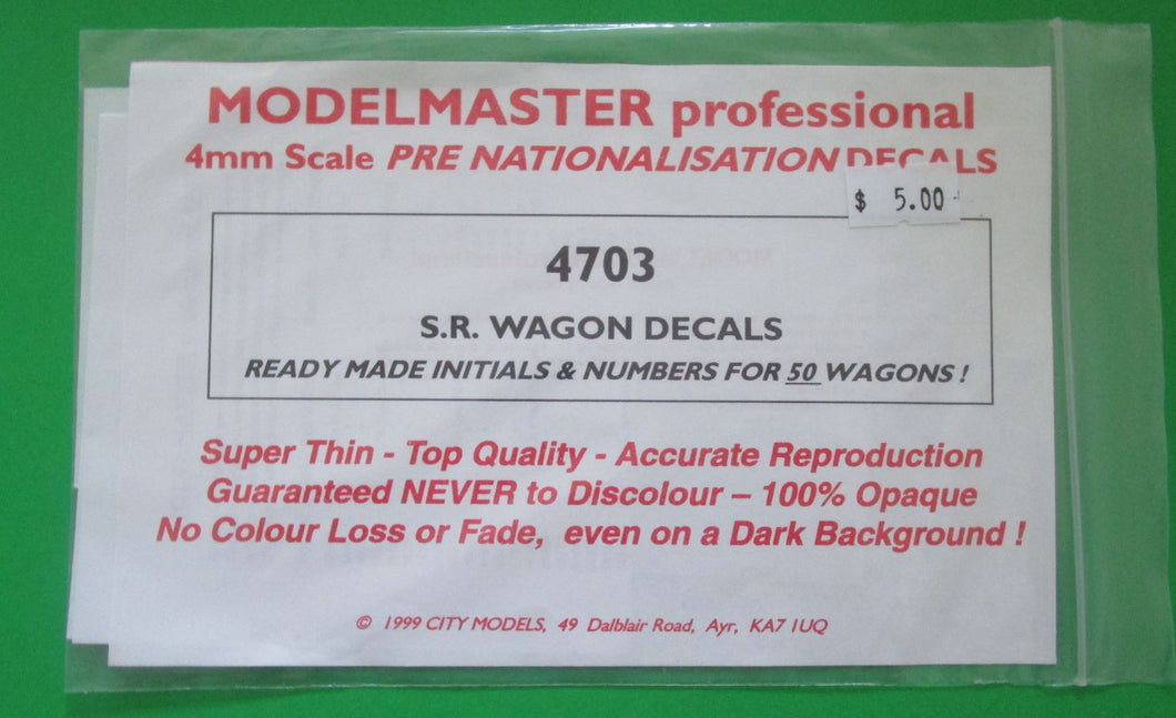 4703 Modelmaster SR wagon decals