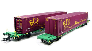 "37-300B-LN (2 Pack) ECS 2 x Intermodal bogie wagons with 2 x 45ft containers ""ECS"" Metal Bogie Wheels Sprung Buffers Die-Cast ..."
