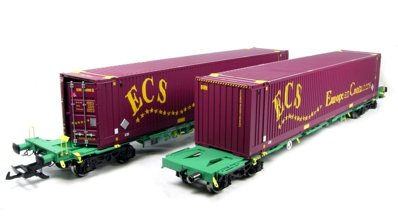 37-300B-LN (2 Pack) ECS 2 x Intermodal bogie wagons with 2 x 45ft containers