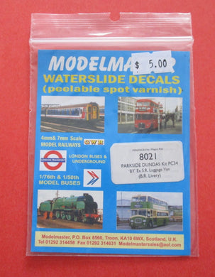 8021 Modelmaster Parkside Dundas kit PC34 ex SR Luggage vann (BR livery)