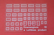 DG16 Downsglaze  Sheet #16 assortedhouse white window frames on clear acetate (N gauge)