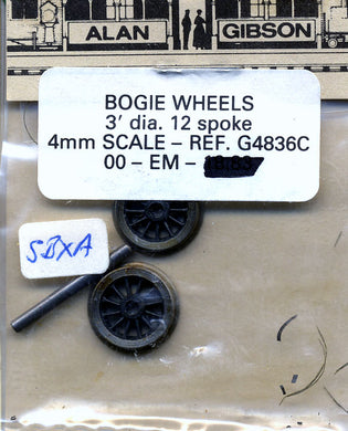 G4836C Gibson bogie wheels 3ft diameter 12 spoke (00 or EM Gauge)