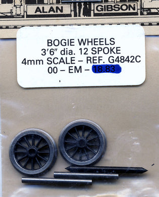 G4842C 3ft 6in 12 Spoke Bogie/Tender OO EM
