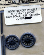 "G4847NW Gibson Bogie/Tender Wheels 3'11"" diameter, 12 spoke 1 pair (00 Gauge)"