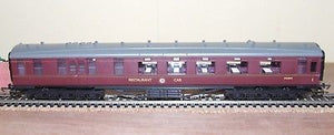 R4131a Hornby ex LMS 12 wheel 68 ft restaurant car BR Maroon M230M