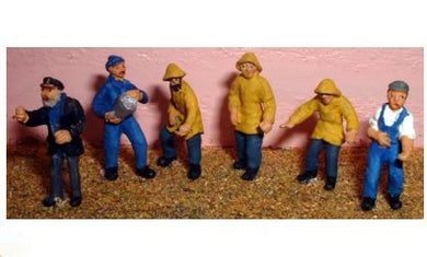 F206P Ready painted, six fishermen/trawlermen