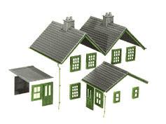 LK-79 Peco 00 Gauge Kit 2 contains: Felt Roofs, Slate Type roofs, Notice boards,ridge tiles, chimney stacks with pots