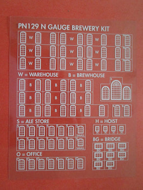 PN129W Brewery Windows on clear acetate (N gauge)