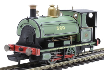R3615 Hornby Class W4 Peckett 0-4-0ST 560 in Peckett works leaf green with builders lettering