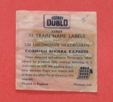 32888 Hornby Dublo Coach Destination/name boards: Cornish Riviera Express