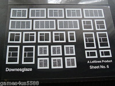 Sheet # 6 Downsglaze assorted white window frames on clear acetate (00 gauge)