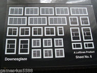 DG6 Downsglaze Sheet # 6 assorted white window frames on clear acetate (00 gauge)