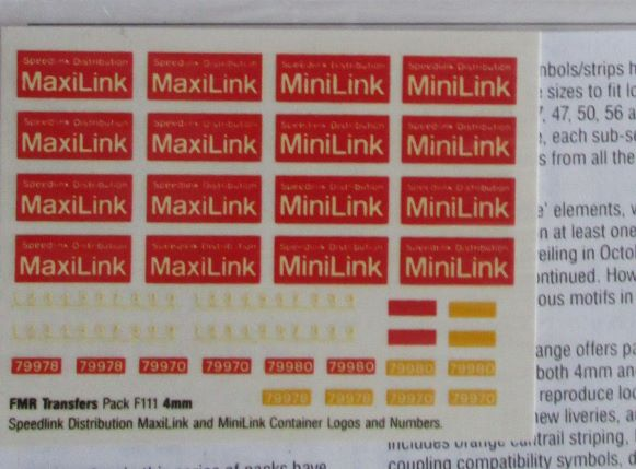 F111 FMR Transfers Speedlink Distribution MaxiLink and MiniLink Container logos
