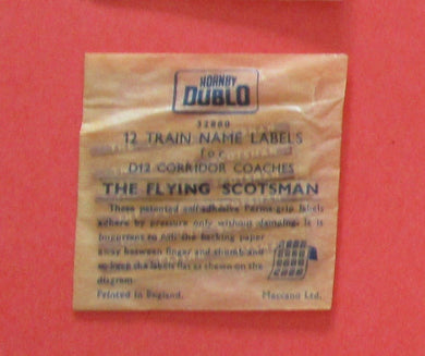 32880 Hornby Dublo Coach Destination/name boards: Flying Scotsman