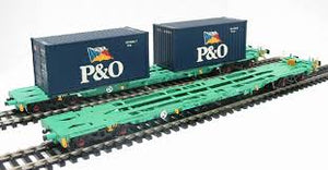 "37-311 2 Intermodal bogie wagons with 2 20ft containers ""P & O"". Metal Bogie Wheels Sprung Buffers Die-Cast ..."
