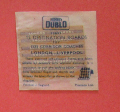 32897 Hornby Dublo Coach Destination/name boards: London Liverpool