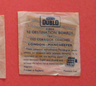 32898 Hornby Dublo Coach Destination/name boards: London Manchester