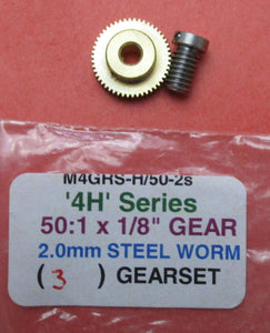 MGRS-H/50-2s Gearset 50:1 2.0mm Steel Worm 1/8in Brass Gear