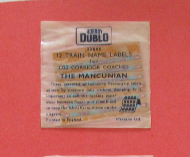32885 Hornby Dublo Coach Destination/name boards: The Mancunian