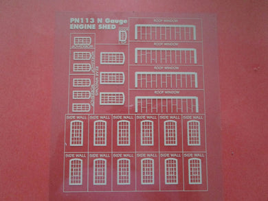 PN113W Engine Shed Windows on clear acetate (N gauge)