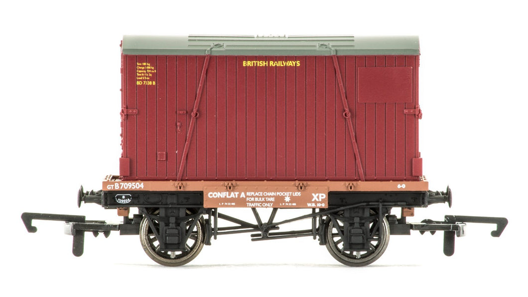 R6776 Hornby Conflat A & Container, British Railways - Era 4