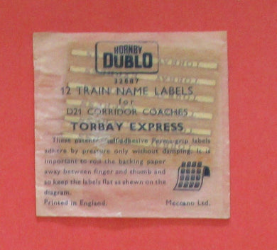 32887 Hornby Dublo Coach Destination/name boards: Torbay Express