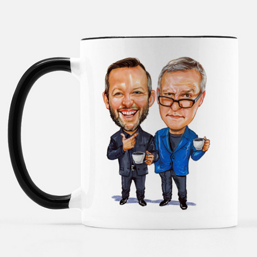 Dinner Conversations Season Two Caricature Mug