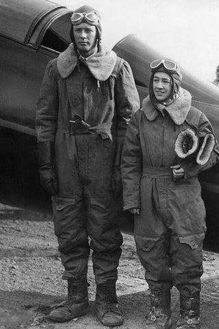American pilot Charles August Lindbergh with his wife, 1932