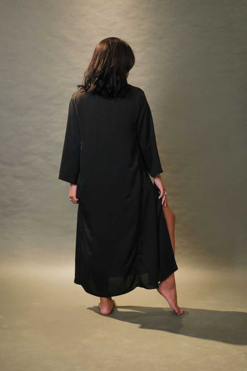 Mandarin-Collar Long Dress
