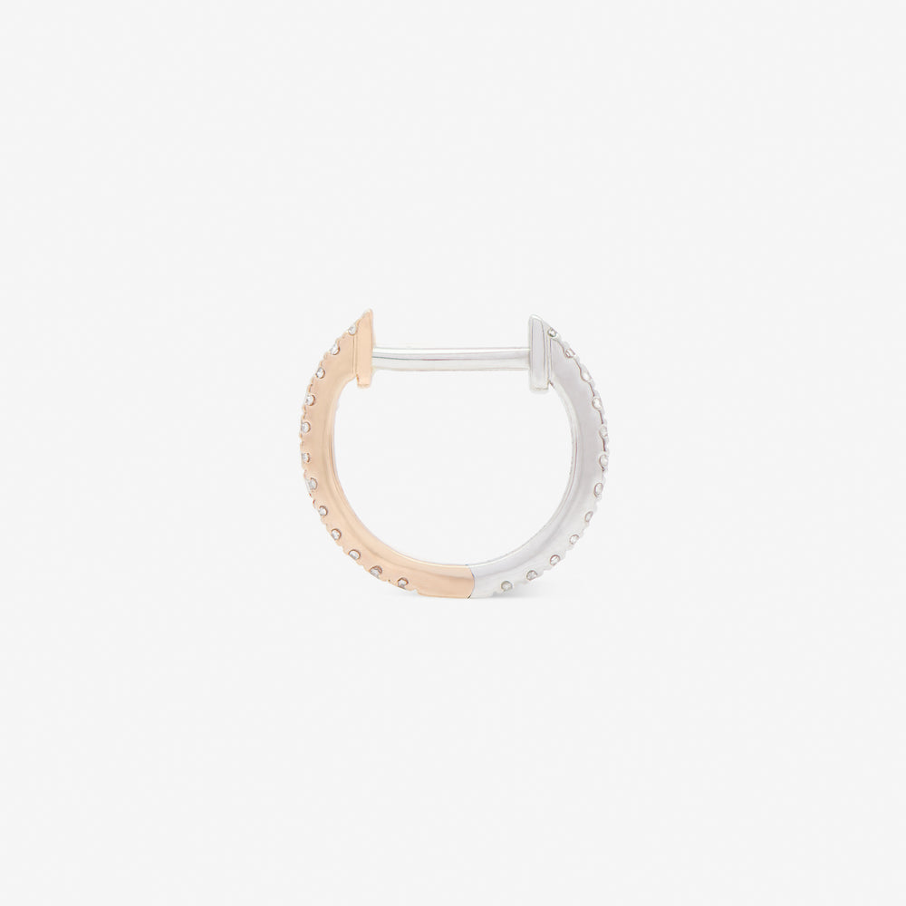10mm hoop in rose and white gold from side