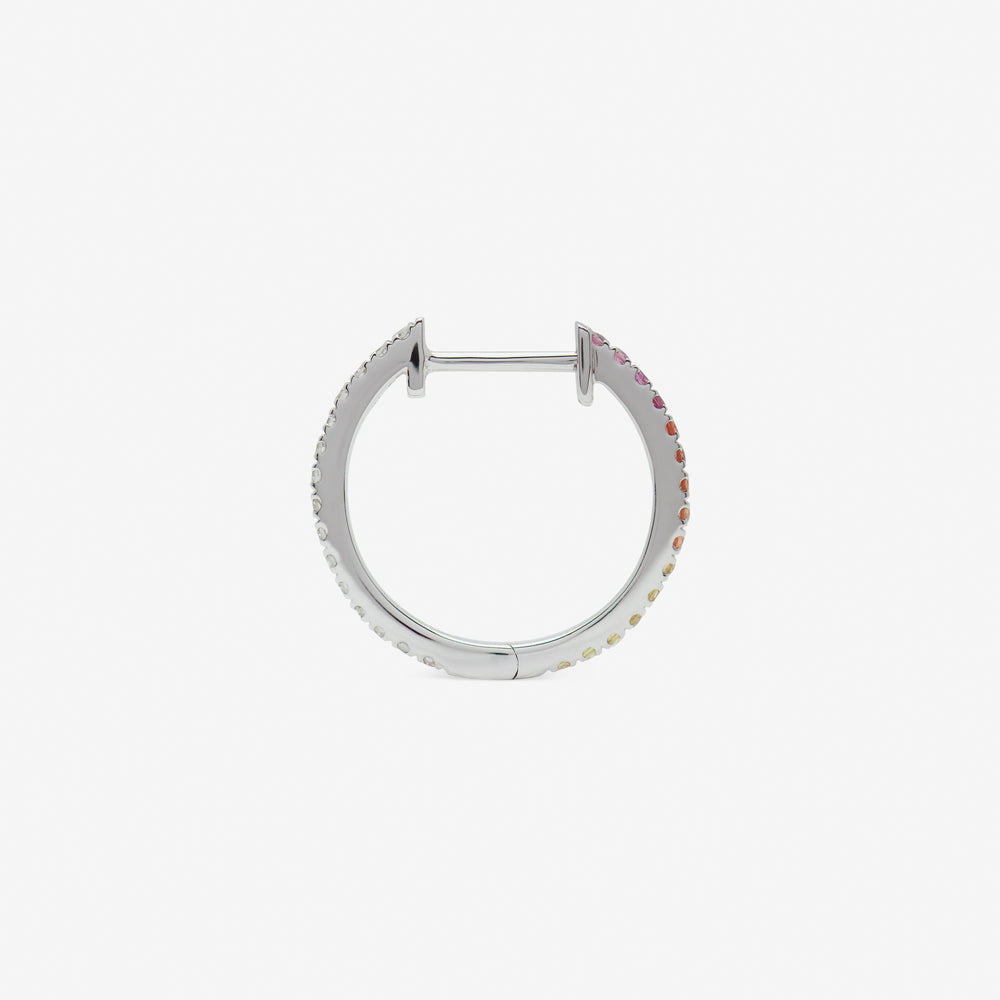 14mm hoop pink rainbow set in white gold from side