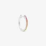 14mm hoop pink rainbow set in white gold
