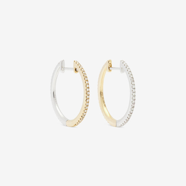 20mm hoop pair in white and yellow gold