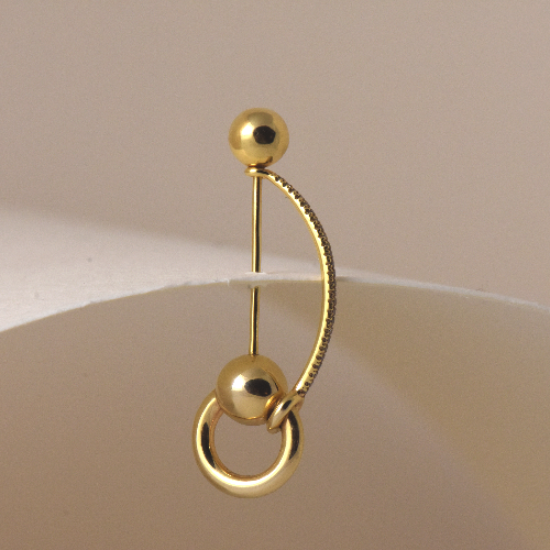 Arch ear pin - Brown diamonds - Yellow gold