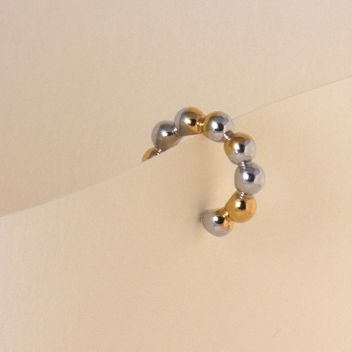 Nassa cuff earring - vermeil gold and rhodium plated silver
